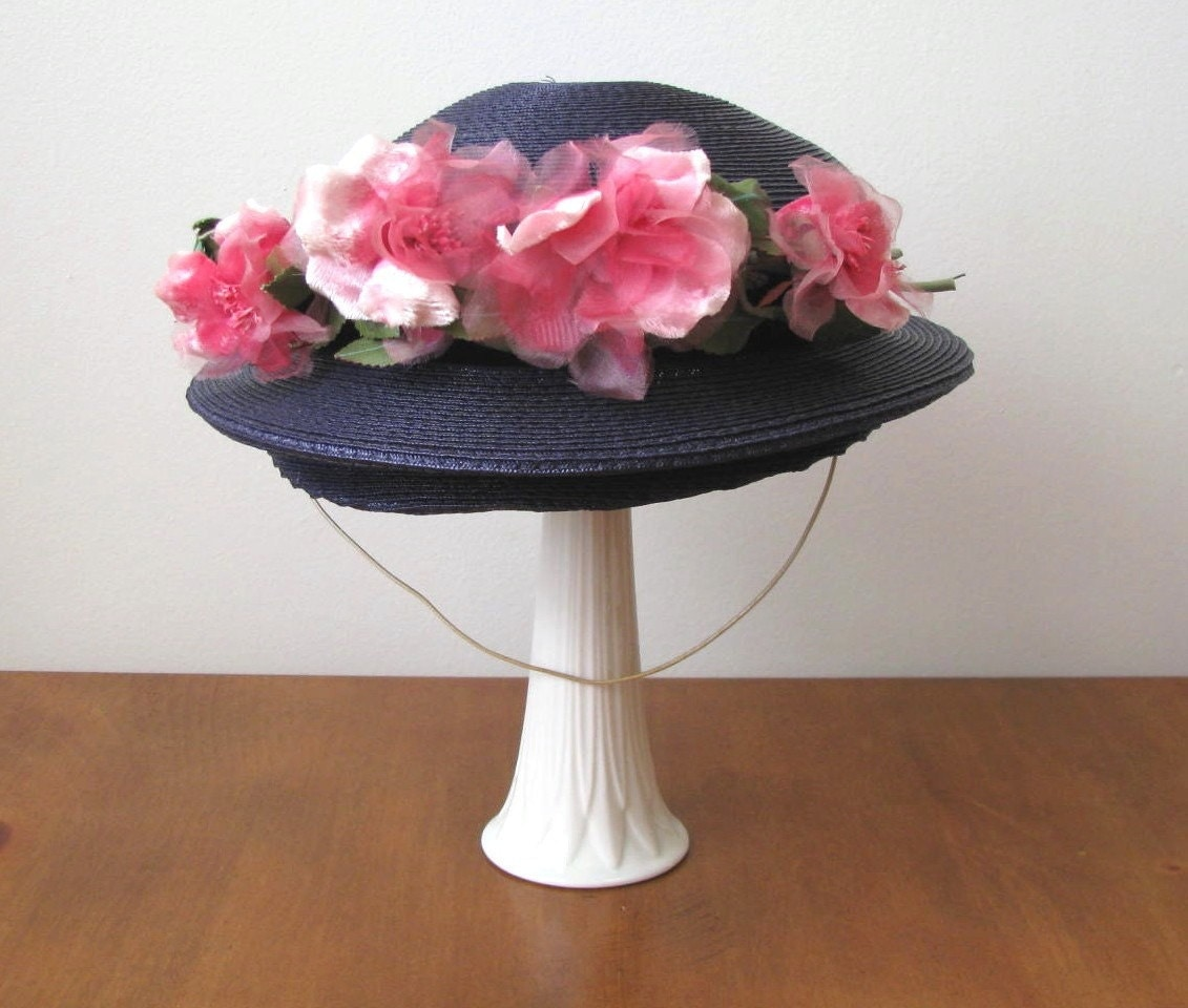 Vintage Blue Straw and Pink Rose Hat