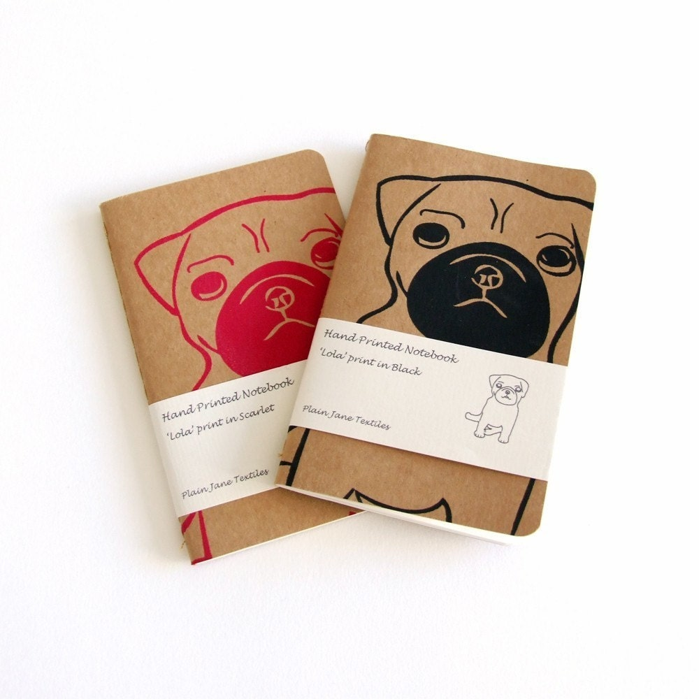 Hand printed pug notebook in black