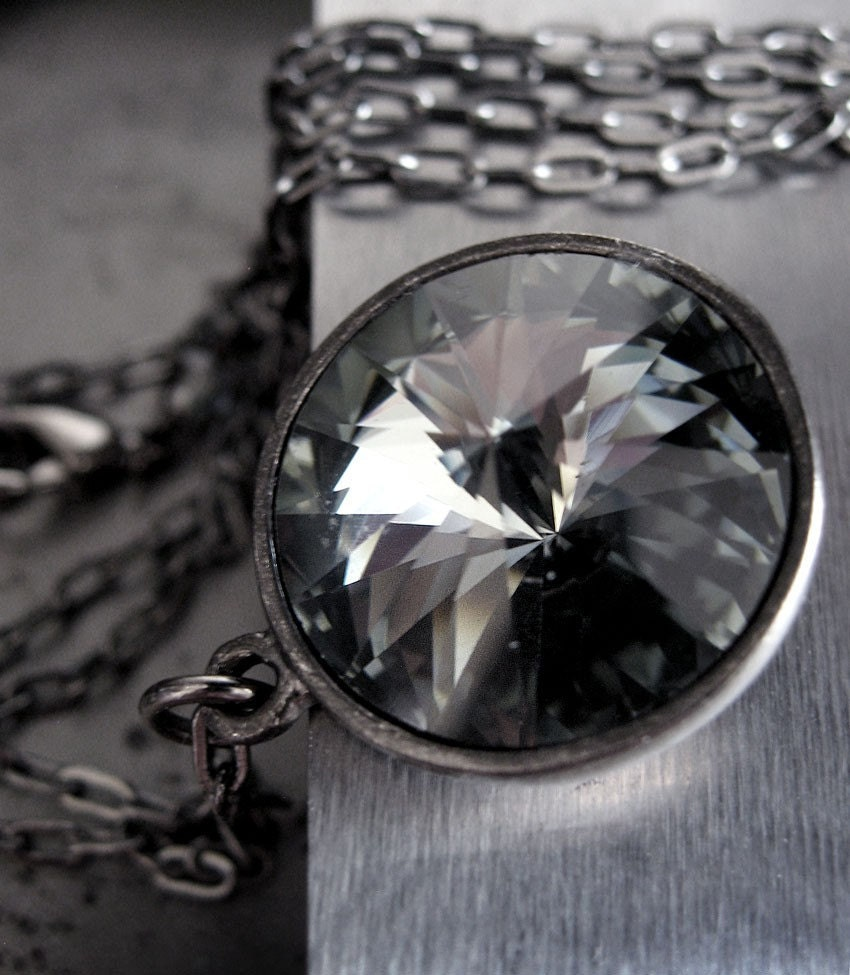 Vintage Swarovski Crystal Pendant Necklace - Smoke and Gunmetal