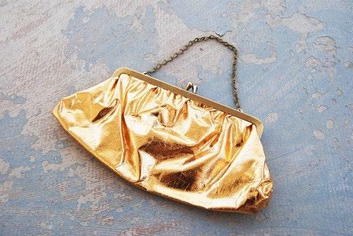 vintage 60s Metallic Gold Lame Evening Clutch