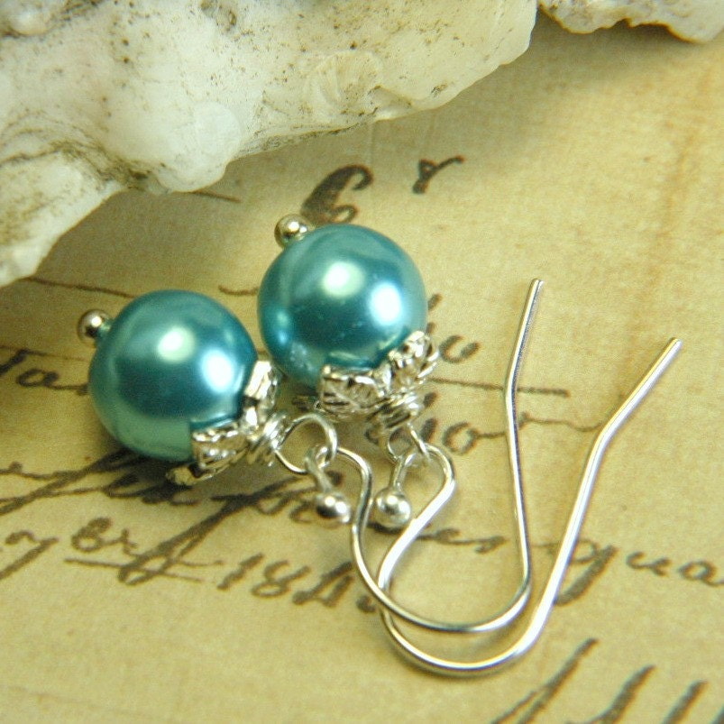 Sunday Pearls - Silver and Robin's Egg Blue Earrings