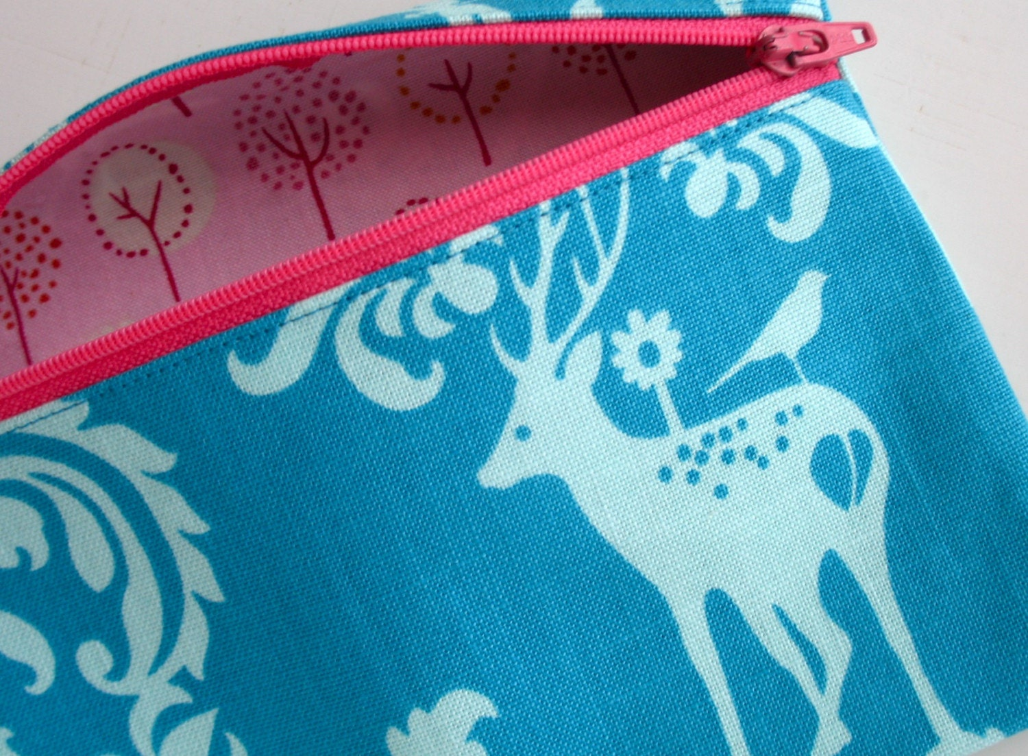 Blue Fawn Damask Zip Pouch