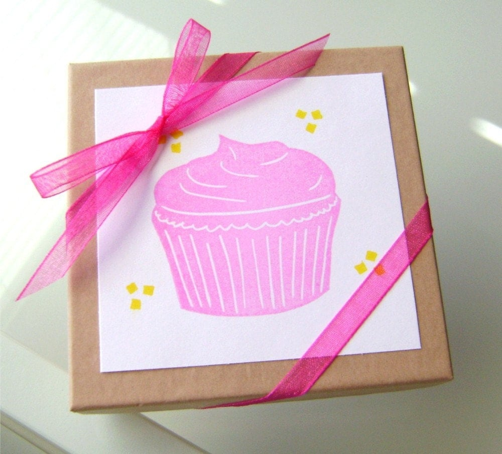 Hand-Carved Rubber Stamp - Frosted Cupcake and Sprinkles (set)
