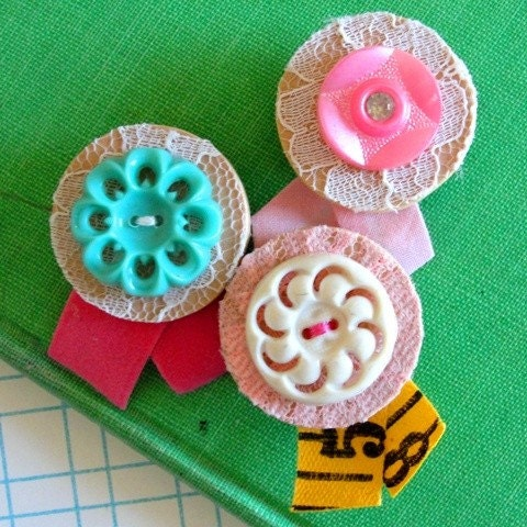 Vintage Button Magnet Trio No. 3