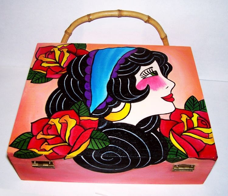 original hand painted cigar box tattoo gypsy girl purse. From artallnight