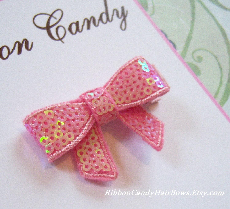<br />Pink Sequin Bow Hair Clip - non slip
