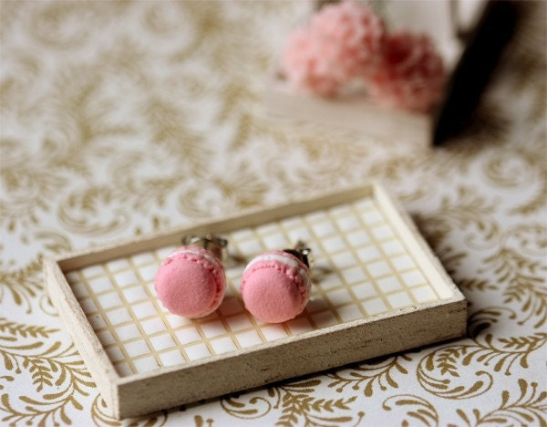 Pink Strawberry Macarons Earrings