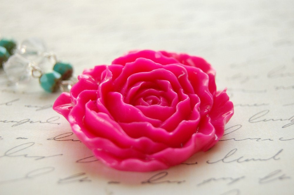 Hot Pink Rose Necklace Buy 3 Get 1 Free