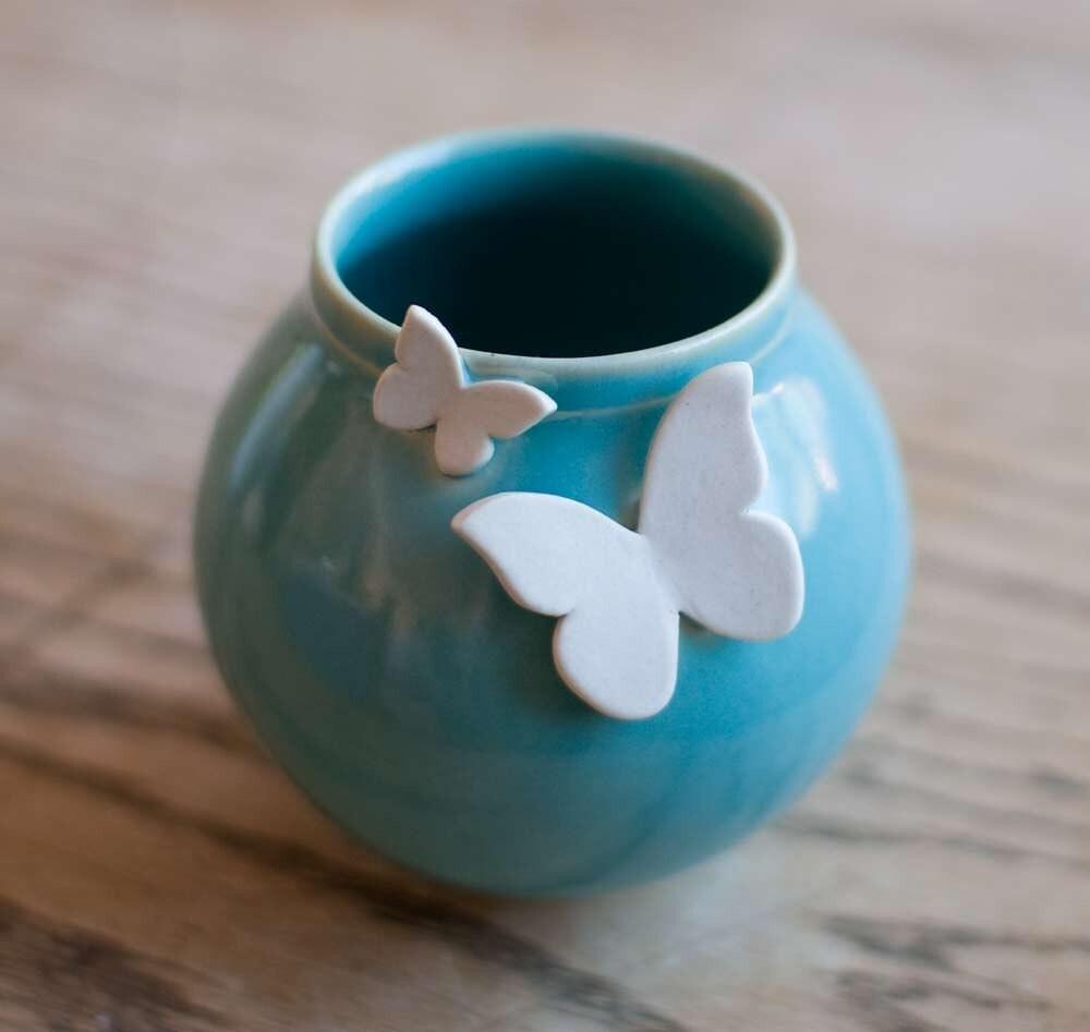 Butterfly Vase-Robin's Egg Blue