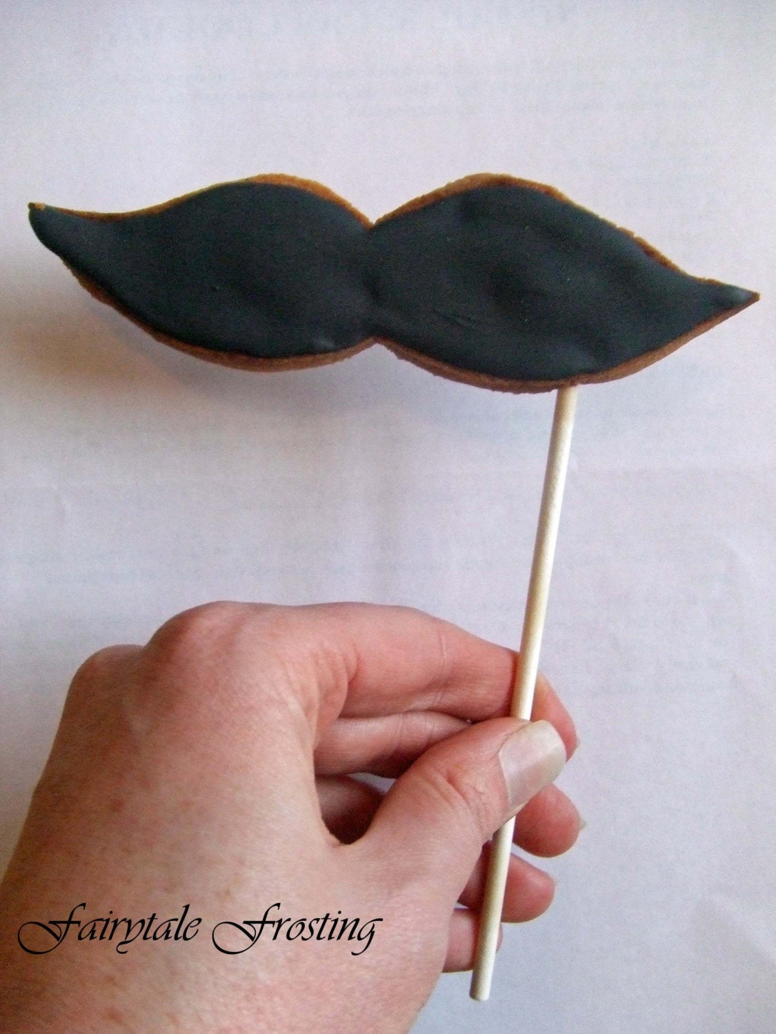 Mustache on a Stick Cookie by fairytalefrosting