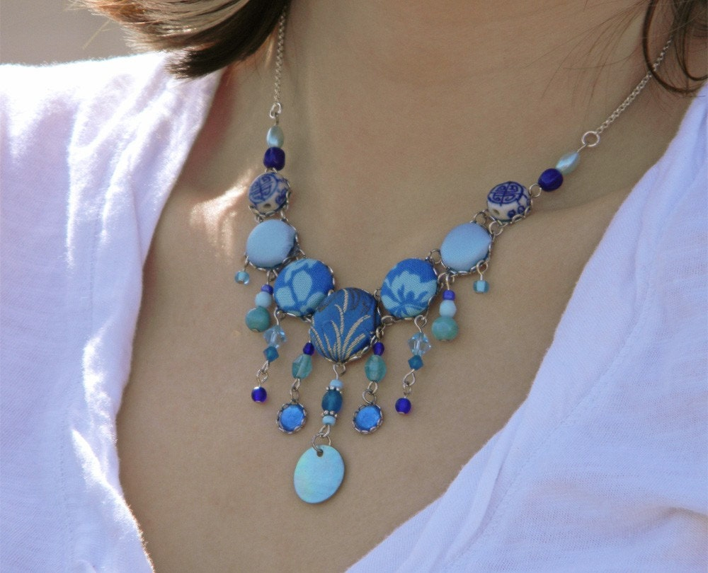 Blue Handmade Beaded Necklace by TheRetroRainbow