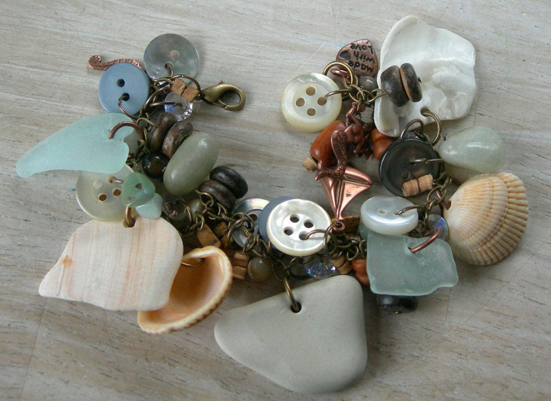 Seaglass Junk Charm Bracelet by Deezie