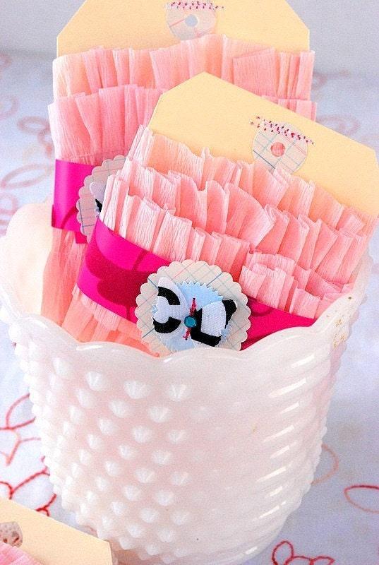 Pink Ruffled Crepe Paper,