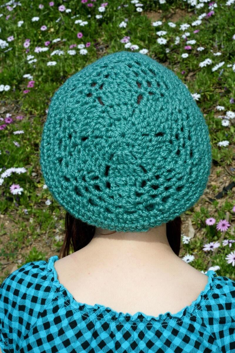 turquoise flower crochet slouchy hat beret