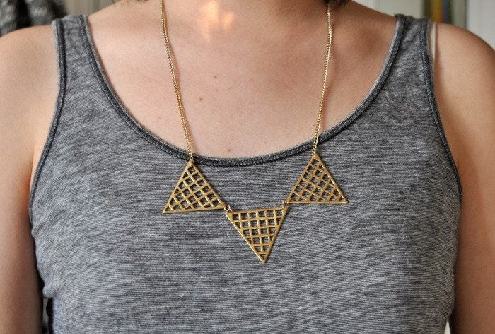 Hipster Necklace Gold Grid Triangles Necklace