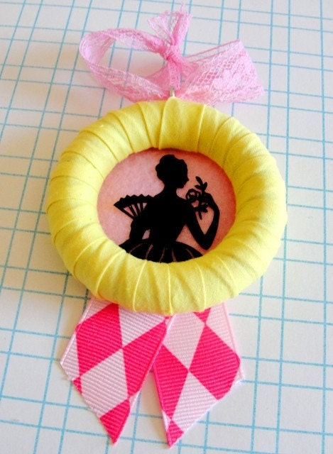 Lovely Lady Silhouette Wall Trinket or Ornament - Yellow, Pink and Black