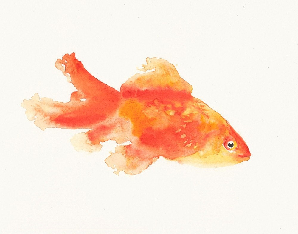 GOLDFISH Original watercolor painting 10X8inch