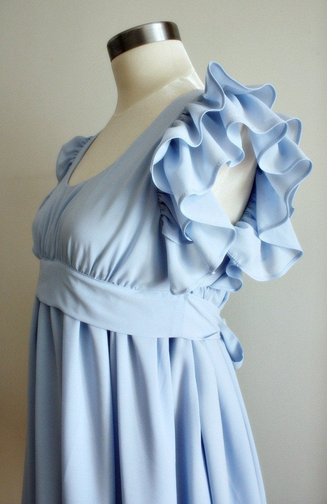 SALE Vintage Deadstock baby blue ruffle layered wedding party dress