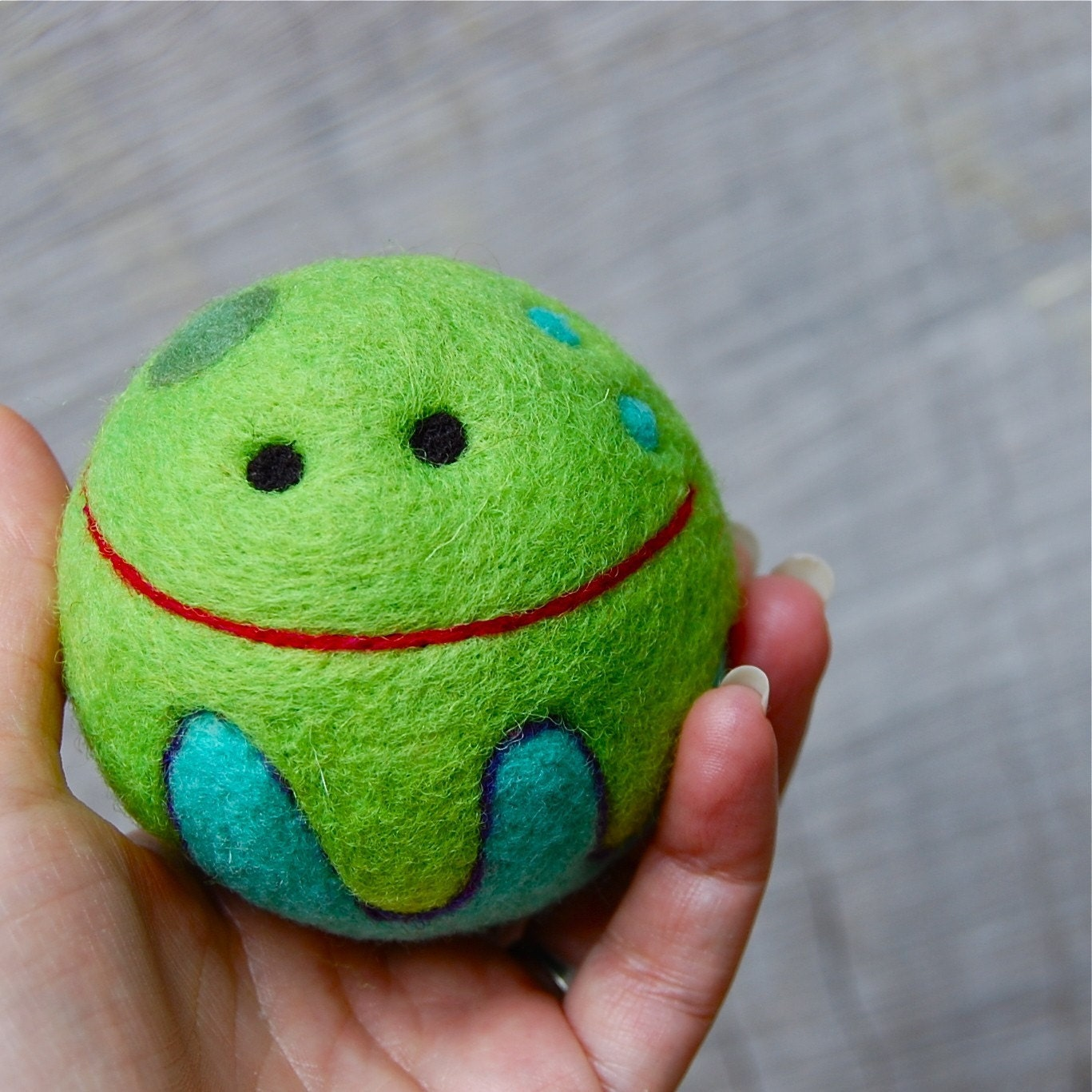 Happy Needle Felted Jellyfish Rattle Ball WOOLY Toy