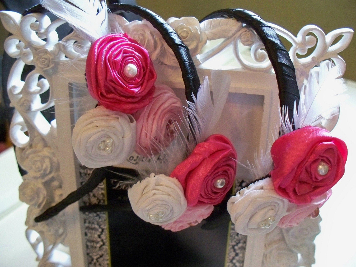 Fabulous Satin Triple Rosette Headband in Hot Pink, Pale Pink and White with Feather on Black Satin Wrapped Headband - Fits Girls Teens Women - Flowergirl Wedding Special Occasion Couture