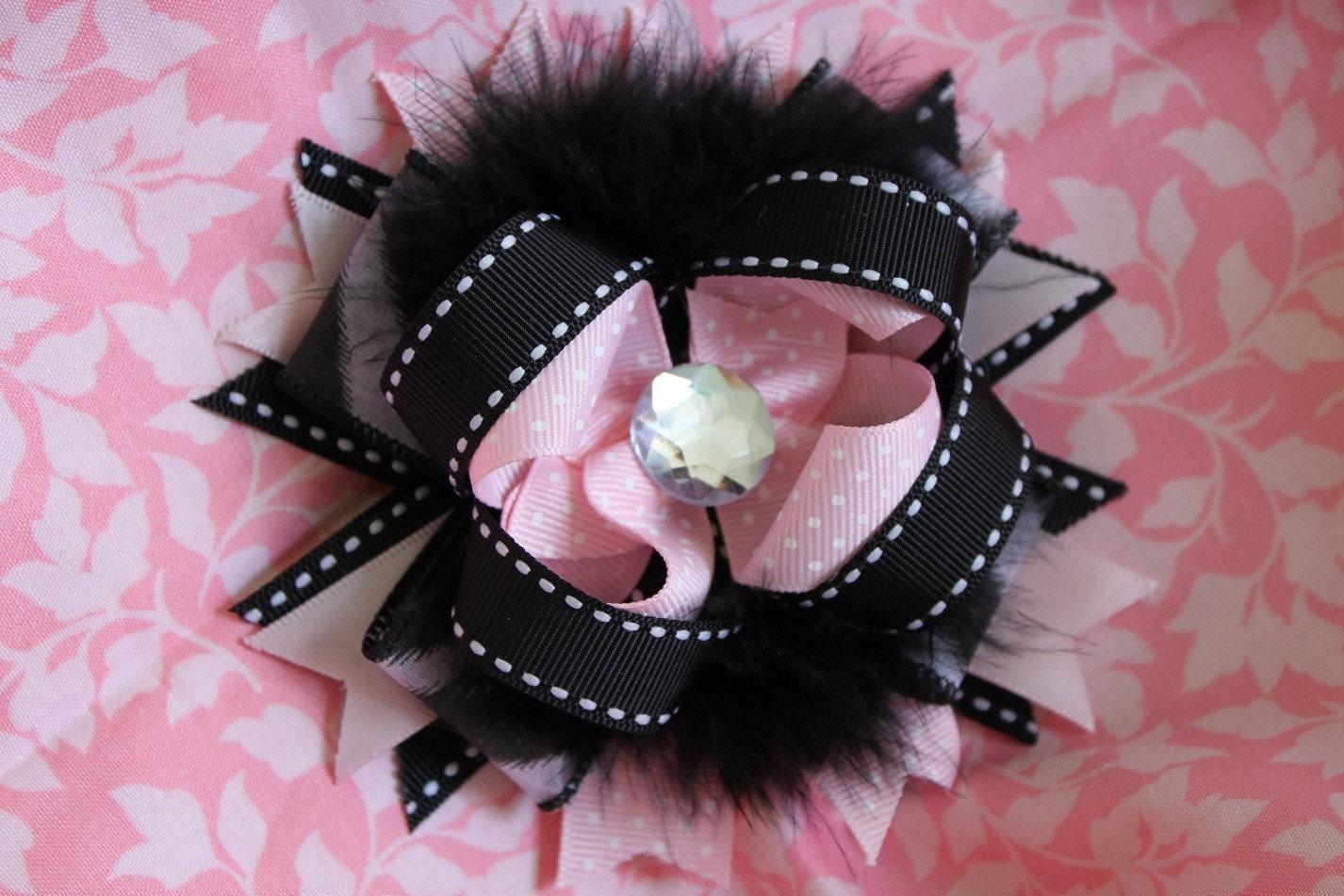 Pretty Baby Zebra Rhinestone Bow w black marabou