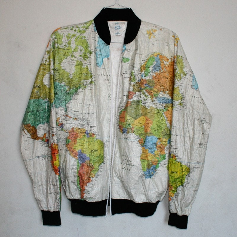 Wearin' The World Map Jacket. From estateliving