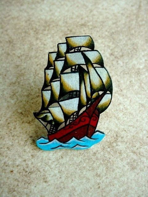 NEW pirate ship traditional tattoo flash large coctail ring
