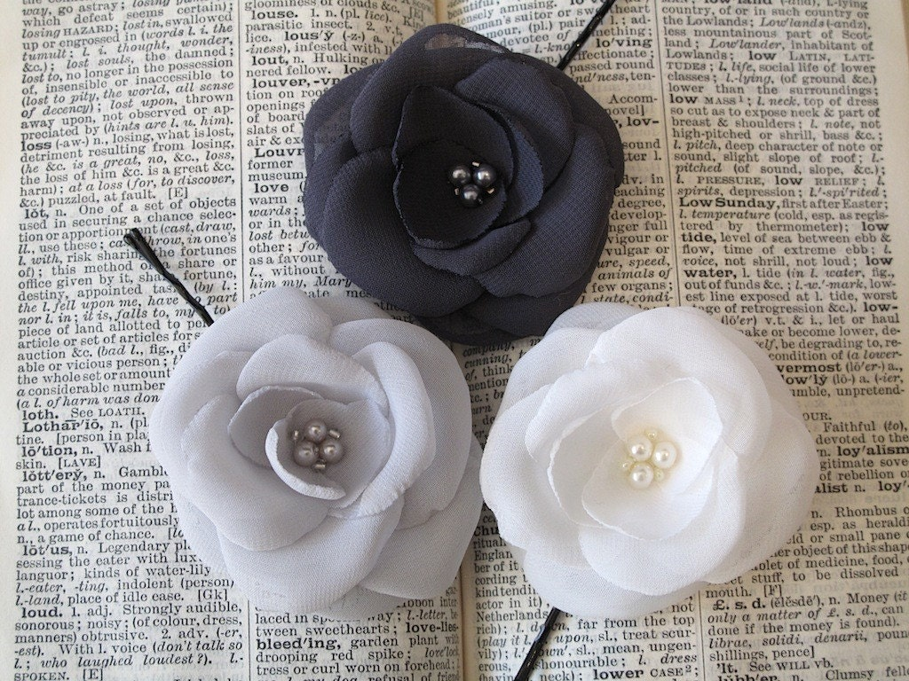 SET OF 3 HAIR PINS chiffon blossoms - ivory, silver and charcoal grey