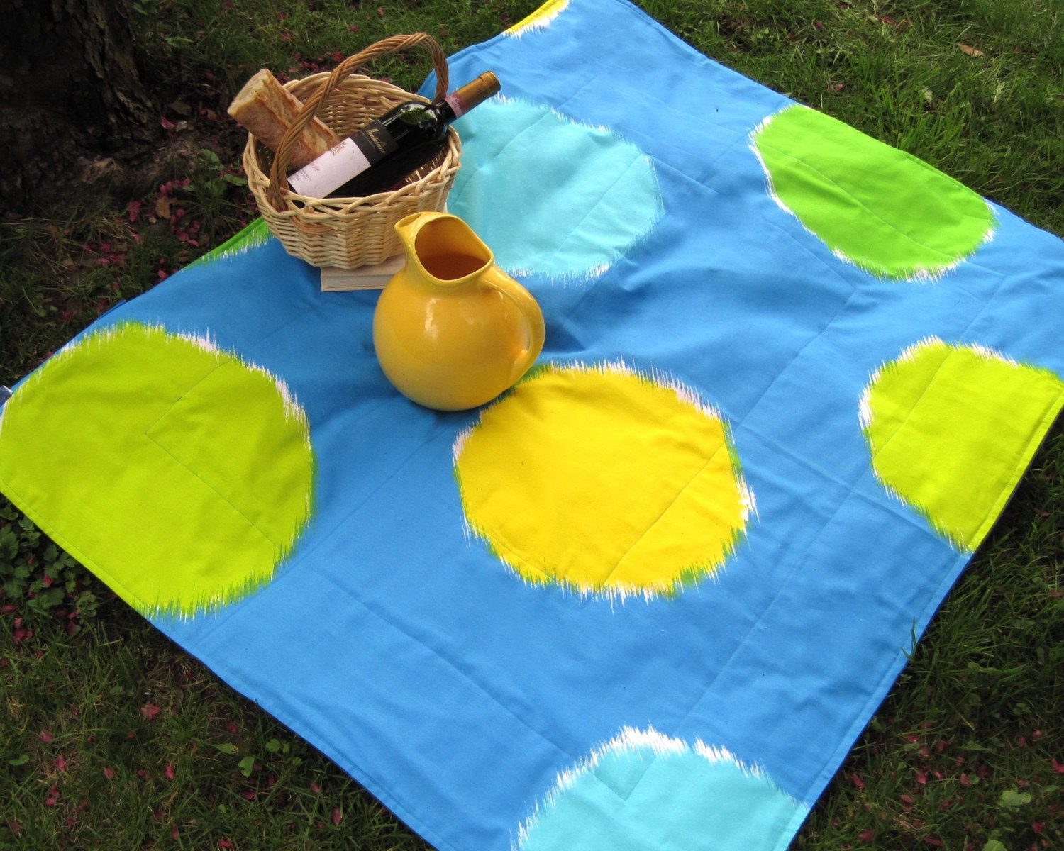 mod Marimekko picnic blanket / turquoise yellow pops of color (only one)