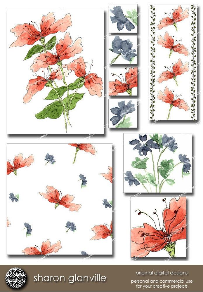summer clip art. Floral Summer Clip Art with 8
