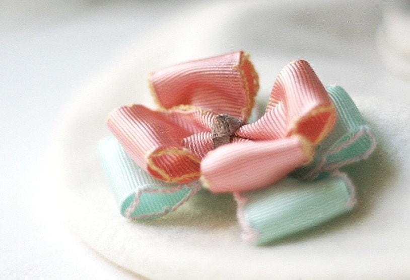 Soft Pink and Blue Bow Hairclip (Miranda)
