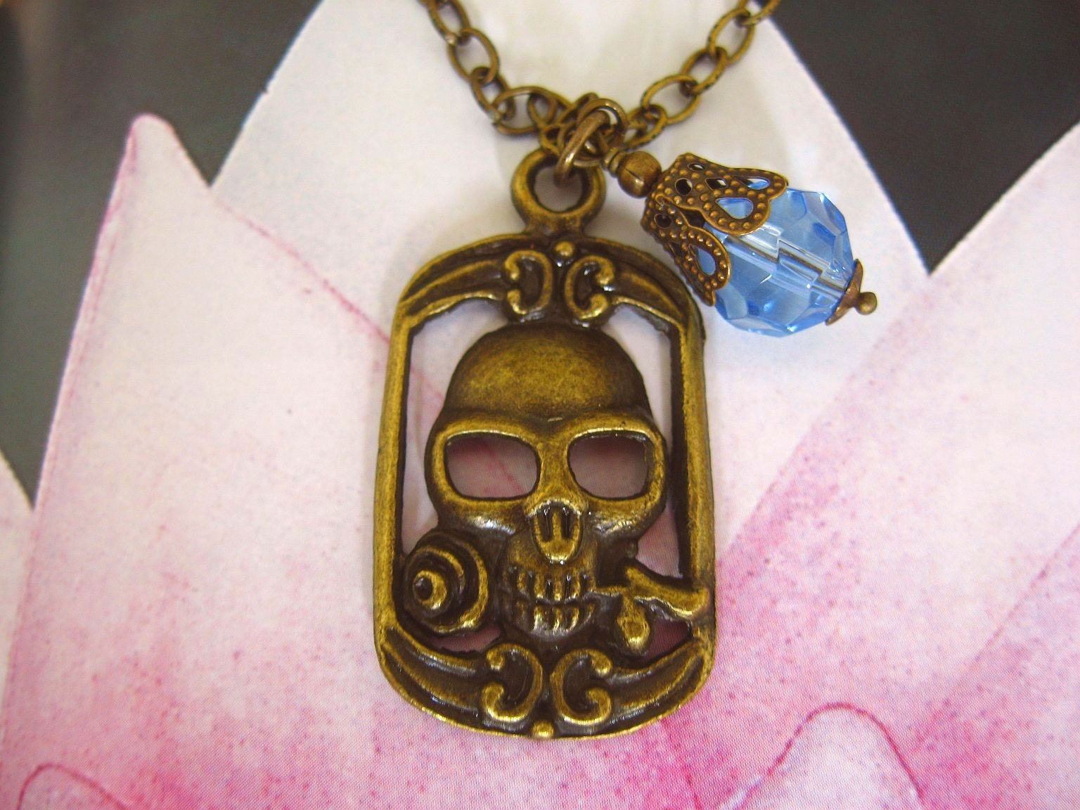Romantic Skull Necklace by OutsideCatArt
