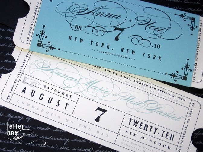Boarding Pass Destination Wedding Invitations Blue Beach Theme