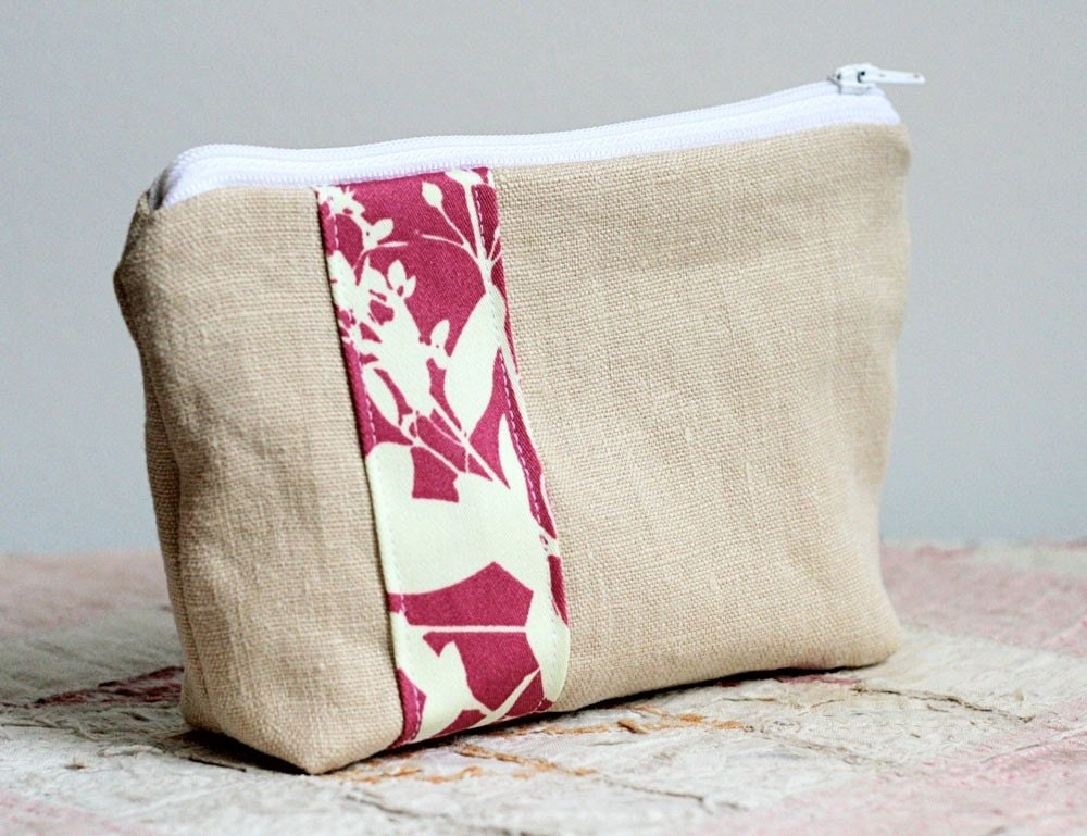 linen and joel dewberry zippered pouch