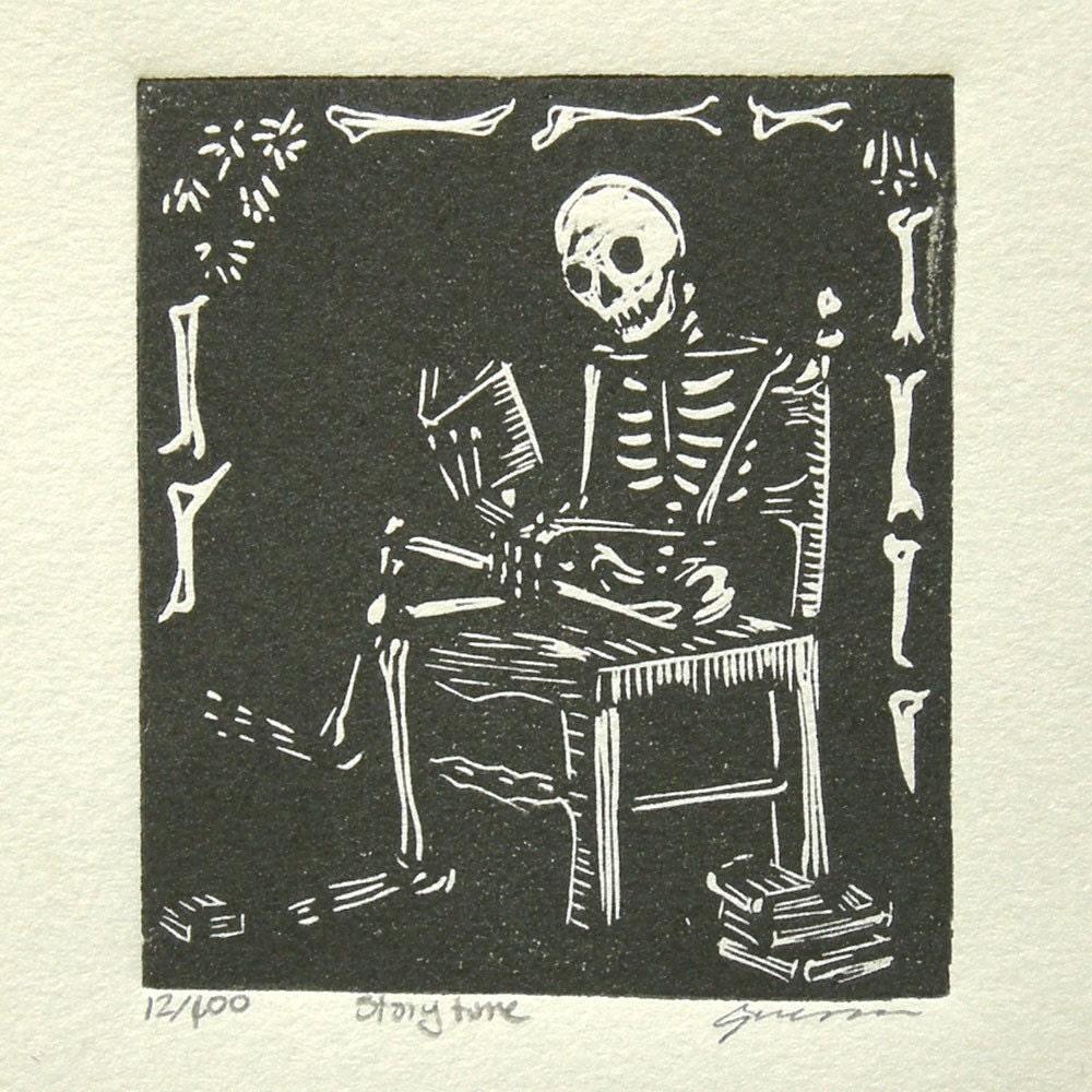 Storytime Skeleton Block Print by Redhydrant
