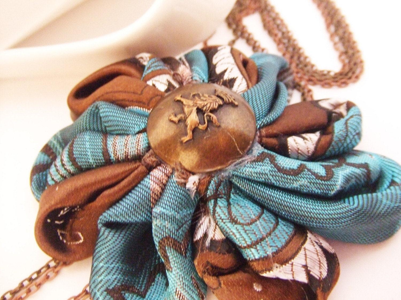 Brown Blue Flower Statement Necklace