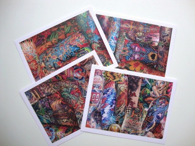 Tattoo Collage Note Cards. From papergirlstudios