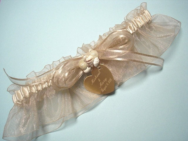 Champagne bridal garter