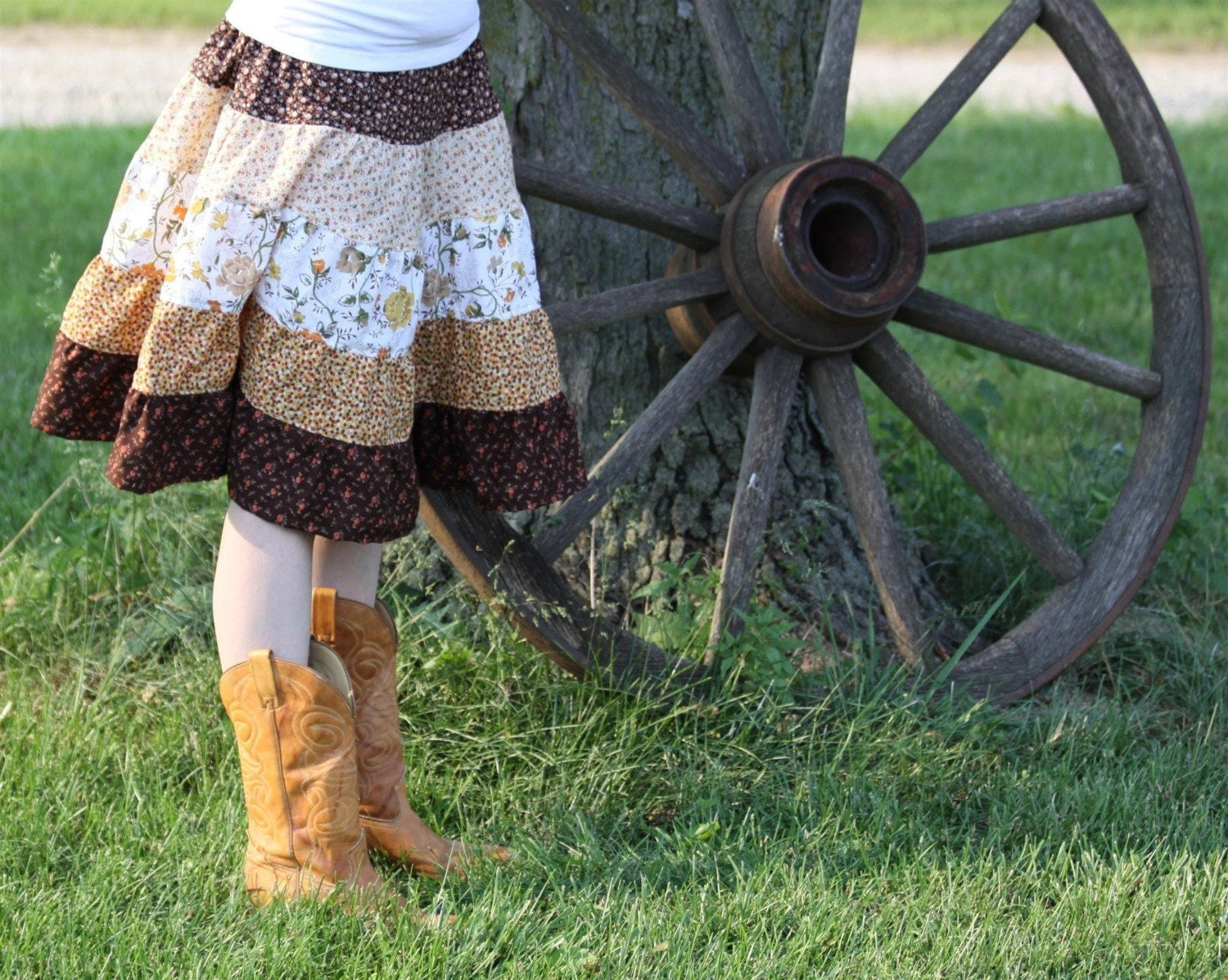Do-Si-Do Tiered Skirt in Vintage Fabrics - OOAK - S, M, L, XL