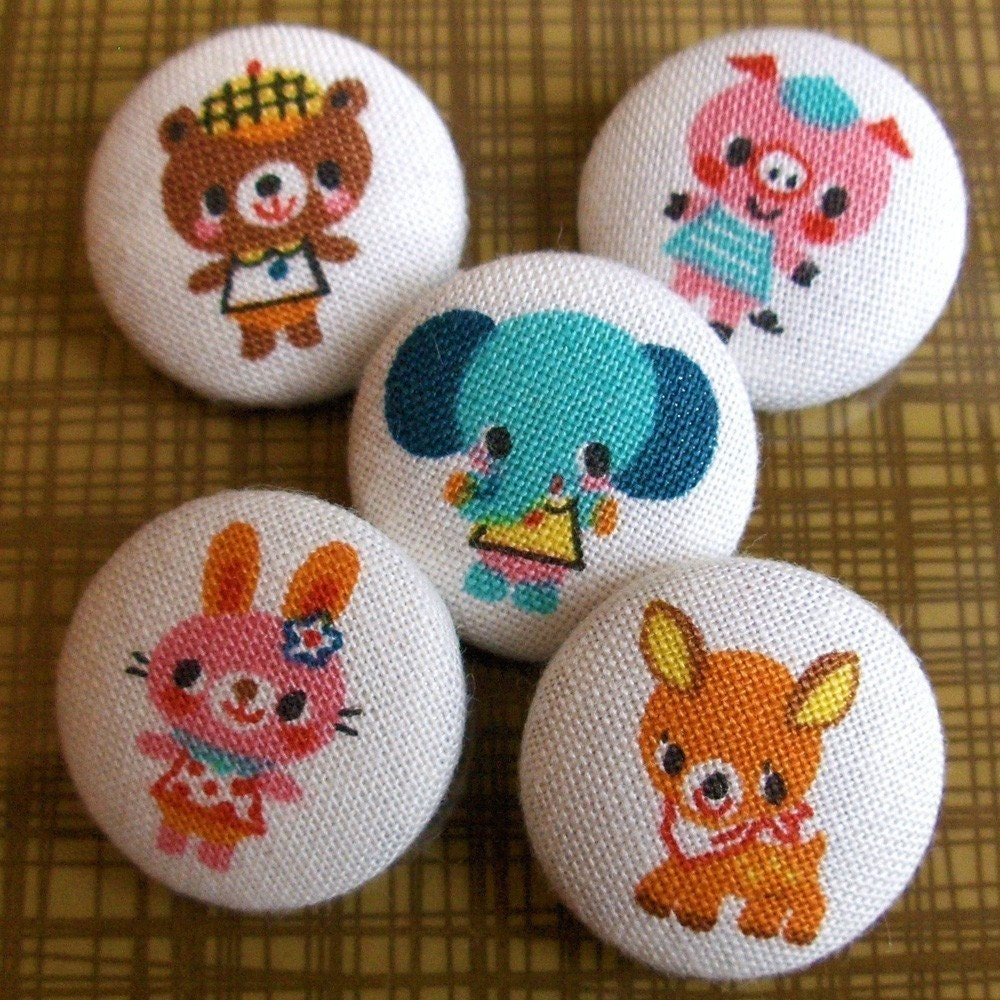 Animal Park Fabric Covered Boutique Buttons
