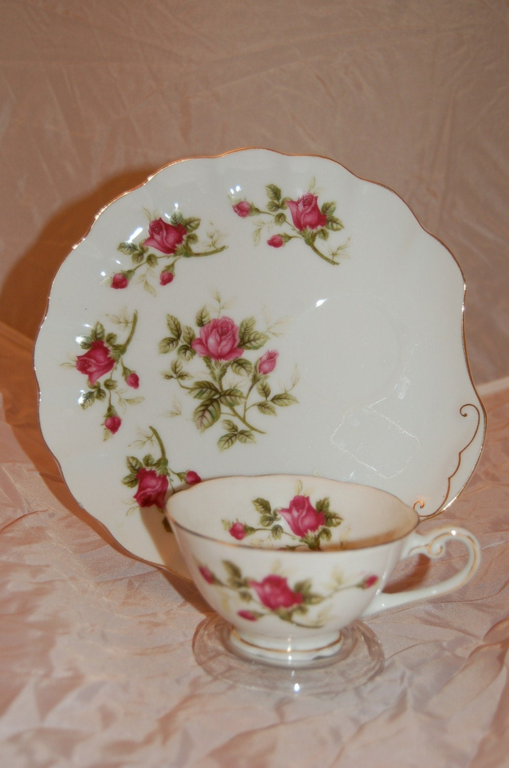 Lefton Rose Snack Plate and Cup Set