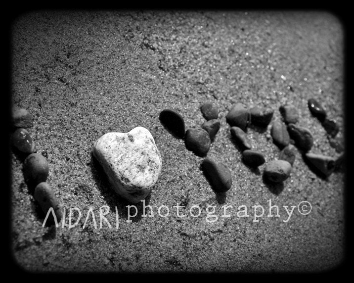 I love You 8x10 Fine Art Photography, Black and White, Beach Love, Rocks,