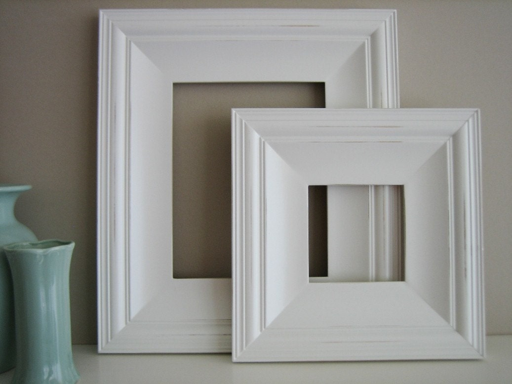 10x10 Cottage White Distressed Picture Frame - FREE SHIPPING