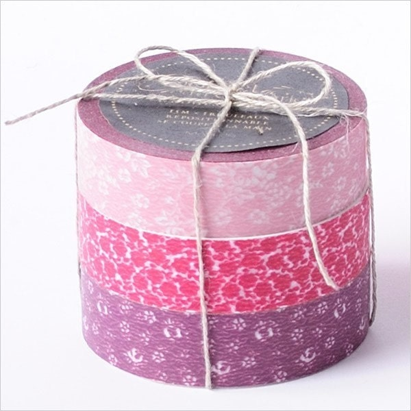 Sale-Japanese Masking Tape-3 roll set-Coffret du Couturier-Pink Set