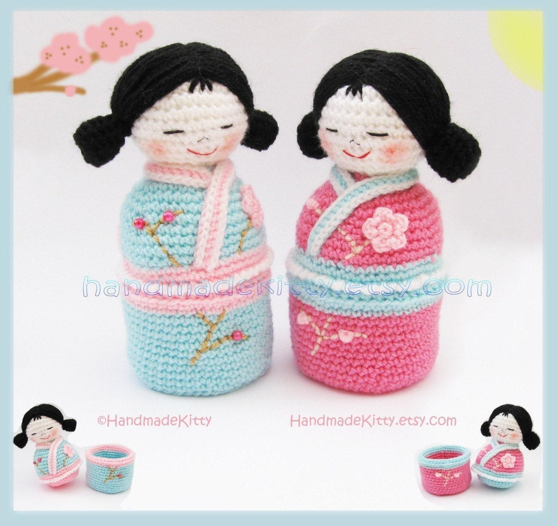 Free Japanese Amigurumi Crochet Patterns : HandmadeKitty: Japanese kokeshi girls jewelry box ...