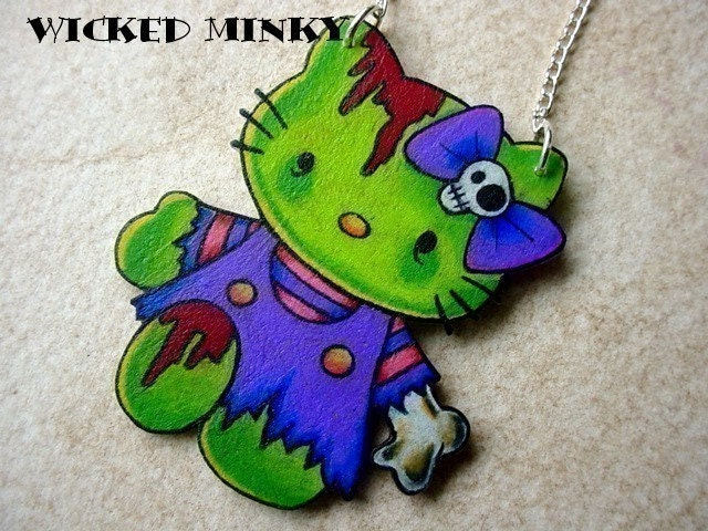 hello kitty zombie necklace