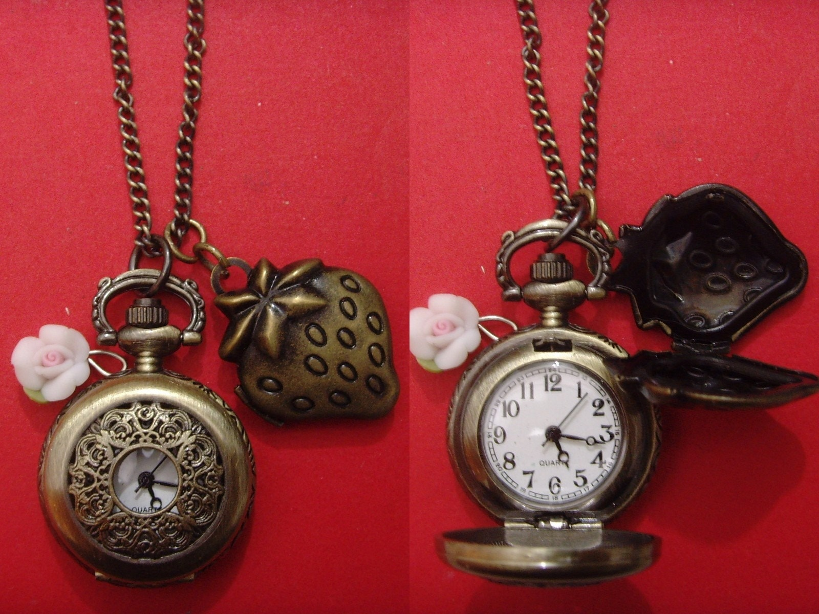 Sale timepiece lovely strawberry locket bronze filigree little lace cover pocket watch 24 inches chain necklace