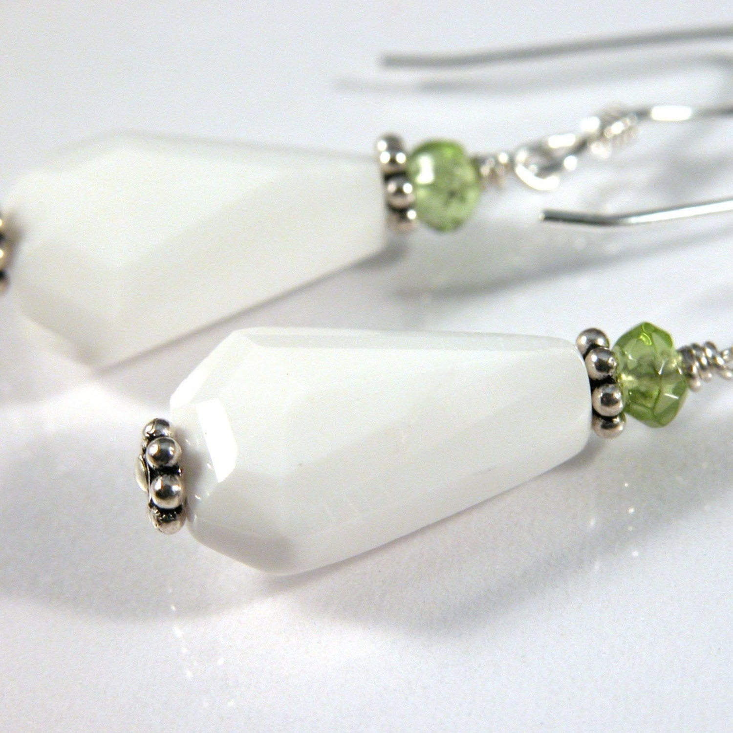 white agate and peridot earrings sterling silver