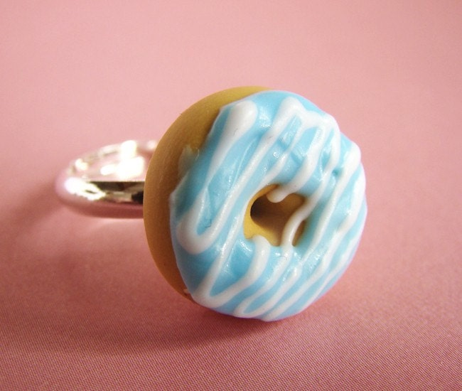 Sky Blue Stripes - Adjustable Ring - Donut Collection