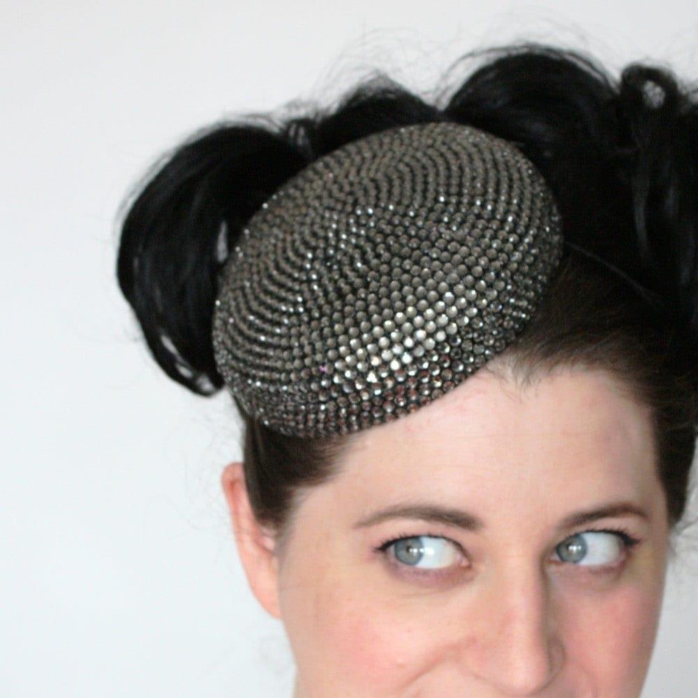 Rhinestone pillbox hat in gunmetal grey